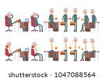 sits on the chair  arm behind... | Shutterstock .eps vector #1047088564
