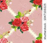 seamless floral pattern rose... | Shutterstock .eps vector #1047103225