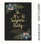 sh it's surprise birthday party ... | Shutterstock .eps vector #1047113089