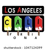 los angeles california.colored... | Shutterstock .eps vector #1047124399