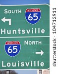 green sign of interstate 65 in... | Shutterstock . vector #104712911