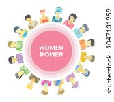 group of women for woman power  ... | Shutterstock .eps vector #1047131959