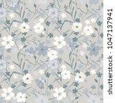 delicate seamless flowers.... | Shutterstock .eps vector #1047137941
