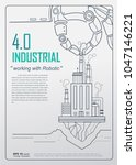 industrial 4.0 with robot... | Shutterstock .eps vector #1047146221