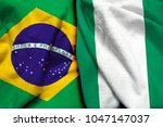 brazil and nigeria flag together | Shutterstock . vector #1047147037