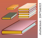 stack of colored books with...