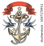 anchor with swallows and ribbon.... | Shutterstock .eps vector #1047170911