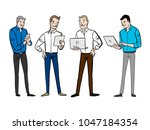 group of business people with... | Shutterstock .eps vector #1047184354