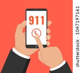 emergency call 911 concept.... | Shutterstock .eps vector #1047197161