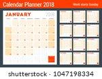 calendar planner for 2018 year. ... | Shutterstock .eps vector #1047198334