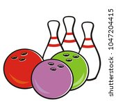 bowling ball and pins  vector... | Shutterstock .eps vector #1047204415