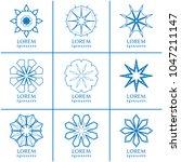 vector set of line logo design... | Shutterstock .eps vector #1047211147