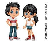 cute cartoon boy and girl in... | Shutterstock .eps vector #1047211165