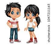 cute cartoon boy and girl in... | Shutterstock .eps vector #1047211165