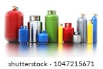 multi colored gas cylinders... | Shutterstock . vector #1047215671