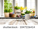 easter table background with... | Shutterstock . vector #1047226414