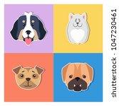 funny muzzles cartoon puppies... | Shutterstock .eps vector #1047230461