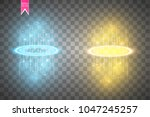 round blue and gold glow rays... | Shutterstock .eps vector #1047245257