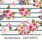 Stock vector butterfly with floral seamless pattern on stripe background 104724971