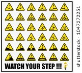 set of safety caution signs and ... | Shutterstock .eps vector #1047272251