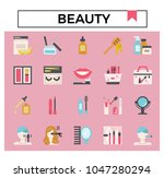 beauty and cosmetics flat...   Shutterstock .eps vector #1047280294