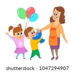 children  boy and girl give... | Shutterstock . vector #1047294907