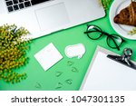 woman work space with laptop ...   Shutterstock . vector #1047301135