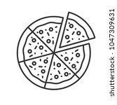pizza with one slice separated... | Shutterstock . vector #1047309631