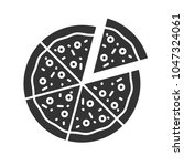 pizza with one slice separated... | Shutterstock . vector #1047324061