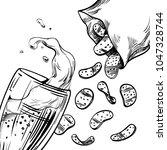 beer glass with a foam splash... | Shutterstock . vector #1047328744