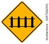 railway crossing ahead that is... | Shutterstock .eps vector #1047336541