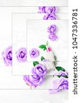 Small photo of Purple roses and face cream flatlay in pop art style with shuffle square frames effect. On white marble background