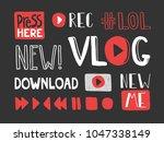 video blogging set. typography... | Shutterstock .eps vector #1047338149