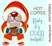 pretty dwarf or santa holding... | Shutterstock .eps vector #1047339001