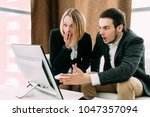 young people are shocked to... | Shutterstock . vector #1047357094