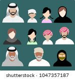 collection of emirate people  | Shutterstock .eps vector #1047357187
