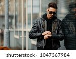 model looking man stand near... | Shutterstock . vector #1047367984