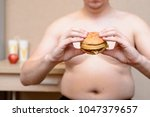 a fat man with a hamburger in... | Shutterstock . vector #1047379657