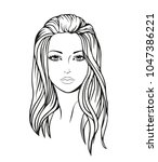 face of a beautiful young woman ... | Shutterstock .eps vector #1047386221
