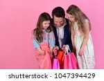 girls and man with surprised... | Shutterstock . vector #1047394429
