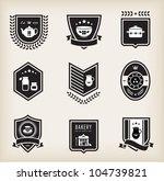 vector set of kitchen badges | Shutterstock .eps vector #104739821