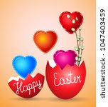 eggs happy easter greeting card ... | Shutterstock .eps vector #1047403459