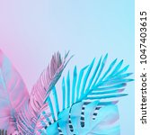 tropical and palm leaves in... | Shutterstock . vector #1047403615