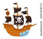 cartoon pirate ghost ship... | Shutterstock .eps vector #1047418171
