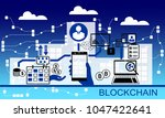 block chain vector background... | Shutterstock .eps vector #1047422641