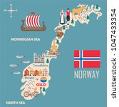 Stylized map of Norway. Travel illustration with norwegian landmarks, architecture, national flag and other symbols in flat style. Vector illustration