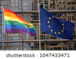 european union flag and lgbt... | Shutterstock . vector #1047433471
