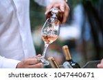 rose wine glass   wineyard | Shutterstock . vector #1047440671