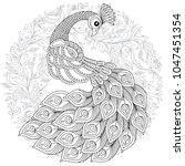peacock in zentangle style.... | Shutterstock . vector #1047451354