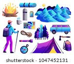 hiking camping survival trip... | Shutterstock .eps vector #1047452131